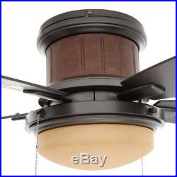 Outdoor Natural Iron Ceiling Fan with Led Light Kit Flush Mount Cottage Style