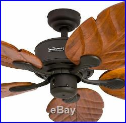 Palm 52-Inch Tropical Ceiling Fan NO LIGHT KIT Five Hand-Carved Wood Blades