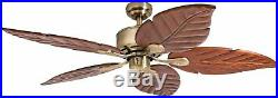 Palm 52 Tropical Ceiling Fan NO LIGHT KIT Five HandCarved Wood Blades Ant Brass