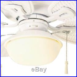 Palm Beach III Indoor/Outdoor Matte White Ceiling Fan with Light Kit 48 inc