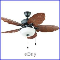 Palm Cove 52 in. Indoor/Outdoor Natural Iron Ceiling Fan with Light Kit