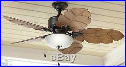 Palm Leaf Blades 52 inch Indoor/Outdoor Natural Iron Ceiling Fan Glass Light Kit