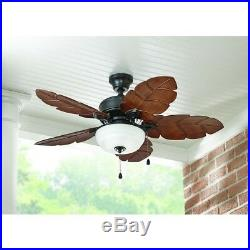 Palm Leaf Blades Tropical Style Indoor Outdoor Ceiling Fan 44-In. Bowl Light Kit