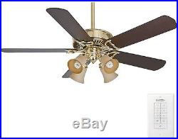 Panama Gallery Ceiling Fan with Light Kit 54 in. Indoor Bright Brass Casablanca