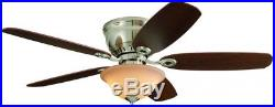 Pawtucket 52 In Brushed Nickel Indoor Flush Mount Ceiling Fan Light Kit Remote