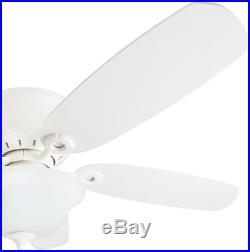 Pawtucket 52-in White Indoor Flush Mount Ceiling Fan with Light Kit and Remote