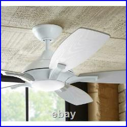 Petersford 52 in. Integrated LED Indoor White Ceiling Fan with Light Kit and Rem