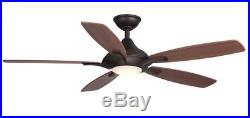 Petersford 52 in. LED Indoor Oil Rubbed Bronze Ceiling Fan with Light Kit