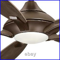 Petersford 56 in. Integrated LED Indoor Oil Rubbed Bronze Ceiling Fan light kit