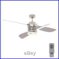 Pilot 60 in. 52 in. Indoor Brushed Nickel Ceiling Fan with Light Kit and Remote