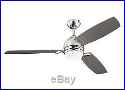 Polished Nickel Muirfield 3-Blade 52 Ceiling Fan Silver Blades & Light Kit