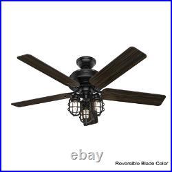 Port Isabel 52 In. Led Indoor/Outdoor Matte Black Ceiling Fan With Light Kit