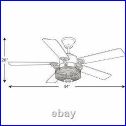 Progress Lighting Greer 54 in. LED Gilded Iron Indoor Ceiling Fan with Light Kit