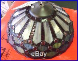 Purple Tiffany Style Stained Glass Ceiling Fan Light Kit