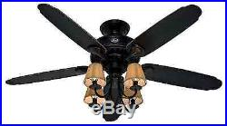Quiet Cool 54 Hunter Ceiling Fan Rustic Cabin Cone Lamps Shade Unique Light Kit