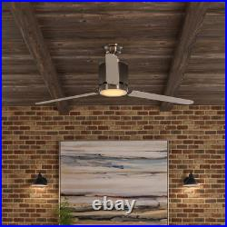 Railey 60 in. LED Indoor Brushed Nickel Ceiling Fan with Light Kit and Remote Co
