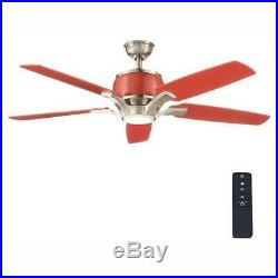 Raymont 52in LED Indoor Brushed Nickel / Red Ceiling Fan with Light Kit and Remote