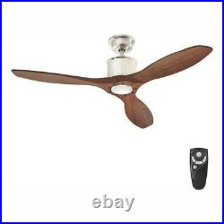 Reagan 52'' LED Indoor Brushed Nickel Ceiling Fan Light Kit & Remote Control HDC