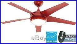 Red Ceiling Fan Integrated Light Kit Opal Glass 52 Tri-Mount Remote Control