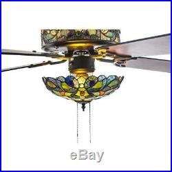 River of Goods 52 in. Indoor Ceiling Fan with Stained Glass Shade Light Kit Remote