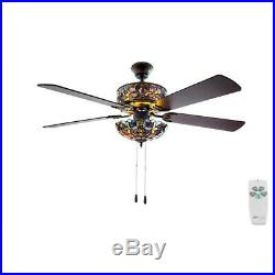 River of Goods Ceiling Fan 52 in. Indoor Violet Stained Glass Light Kit + Remote