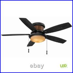 Roanoke 48 In. Led Indoor/Outdoor Natural Iron Ceiling Fan With Light Kit