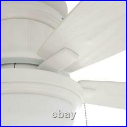 Roanoke 48 in. LED Indoor/Outdoor Matte White Ceiling Fan with Light Kit