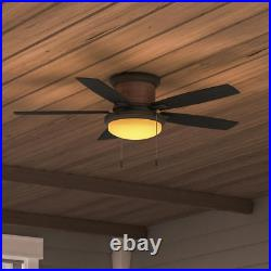 Roanoke Natural Iron Ceiling Fan Light Kit 48 in LED Indoor Outdoor Air Movement