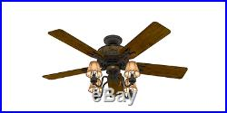 Rustic Cabin 52 Ceiling Fan + 4-Light Fixture Kit Cone Lamp Shade Country Lodge