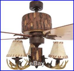 Rustic Ceiling Fan with Antler Light kit Lodge 52-In. Nutmeg Cabin Hampton Bay