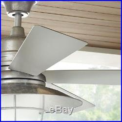 Rustic Industrial Indoor Outdoor Ceiling Fan Metal Light Kit Remote Control Wet