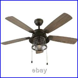 Shanahan 52'' LED Ind/Outdoor Bronze Ceiling Fan with Light Kit Home Decorators Co