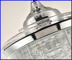 Silver Crystal Ceiling Fan Light Retractable Blades Chandelier Fan Light Kit 36
