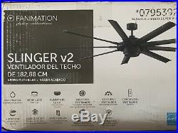 Slinger Fanimation 72 Black Ceiling Fan 9 black Blade LED Light Kit withremote