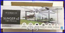 Slinger V2 72-In Brushed Nickel Ceiling Fan Modern Style LED Light Kit Remote