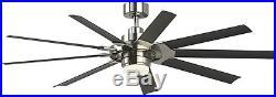 Slinger v2 72in Downrod Mount In/Outdoor Ceiling Fan LED Light Kit Remote 9Blade