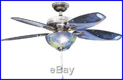 Small Ceiling Fan Light Kit 48 in. Outer Space Kids Room Indoor Brushed Nickel