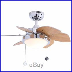 Small Room Modern Ceiling Fan with Indoor Opal Dome Light Kit & Reversible Blades