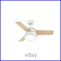 Small indoor ceiling fan with light kit and remote Hunter Finley white 91cm 36