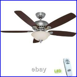 Southwind 52 in. LED Indoor Brushed Nickel Ceiling Fan with Light Kit and Remote