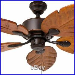 St Kitts Ceiling Fan 5 Palm-Leaf Blades Wood Oil Rubbed Bronze Outdoor Light Kit