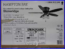 Stoneridge 52'' LED Indoor/Outdoor Hugger Ceiling Fan with Light Kit Hampton Bay
