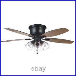 Stoneridge 52 in. Matte Black Hugger LED Ceiling Fan with Light Kit Hampton Bay