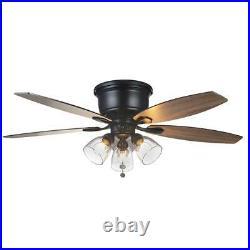 Stoneridge 52 in. Matte Black Hugger LED Ceiling Fan with Light Kit by Hampton B