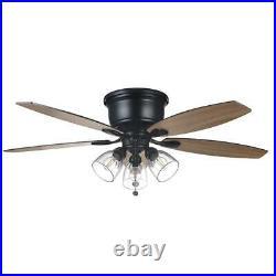 Stoneridge 52 in. Matte Black Hugger LED Ceiling Fan with Light Kit by Hampton Bay