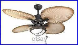 Stylish IP54 Outdoor Ceiling Fan Palm Chocolate Brown with Light Kit Patio 52