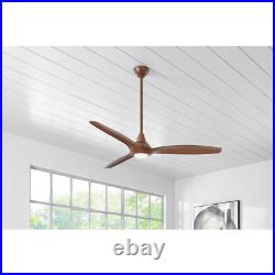 Tidal Breeze 60 In. Led Indoor Distressed Koa Ceiling Fan With Light Kit And Rem