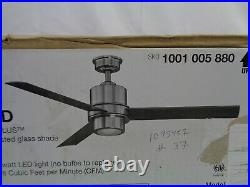 Tripoli Iii 52 In. Led Indoor Brushed Nickel Ceiling Fan Light Kit Remote NIB