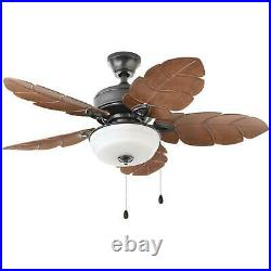 Tropical Style Indoor Outdoor Ceiling Fan 44-In. Palm Leaf Blades Bowl Light Kit