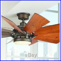Trudeau 60 in. LED Indoor Espresso Bronze Ceiling Fan with Light Kit By Home Decor